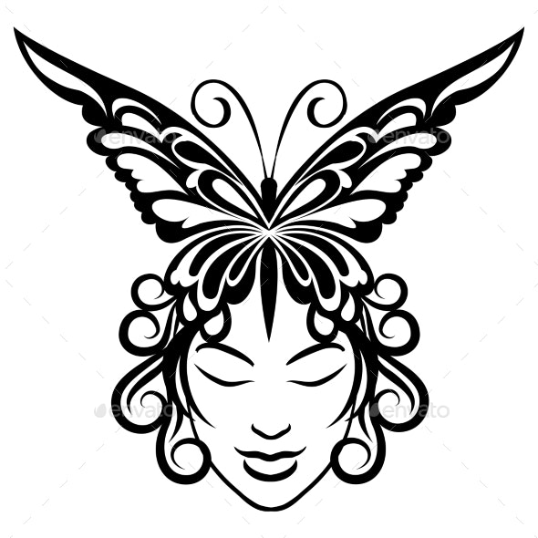 Woman Face with Butterfly Hairdress - Tattoos Vectors