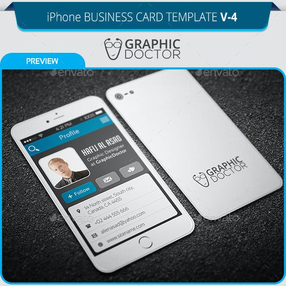 iPhone Business Card Template V-4