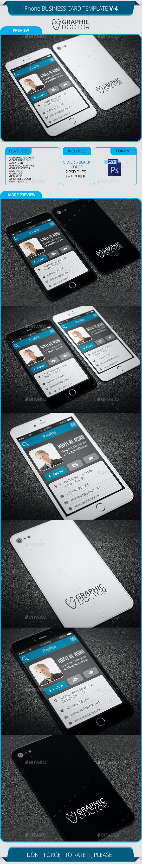 iPhone Business Card Template V-4 - Real Objects Business Cards