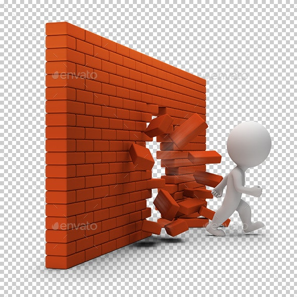 3D Small People - Through a Brick Wall - Characters 3D Renders