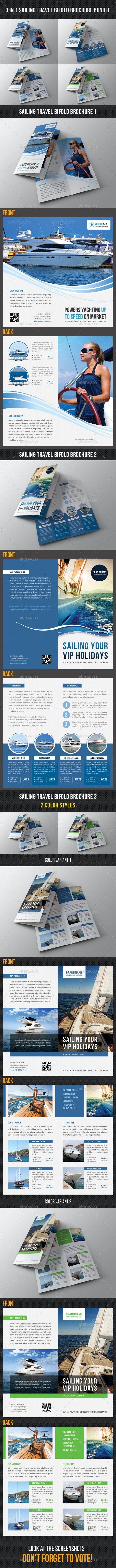 3 in 1 Sailing Travel Bifold Brochure Bundle - Corporate Brochures