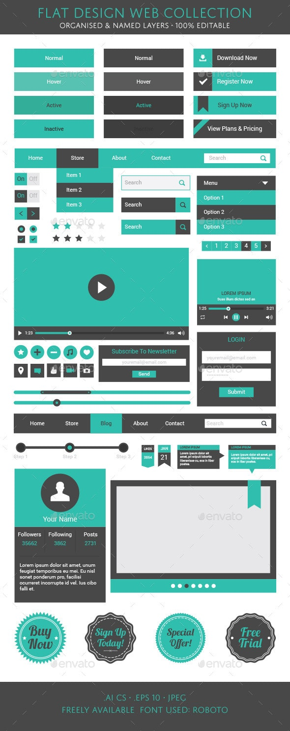 Flat Design Web Collection - Web Elements Vectors