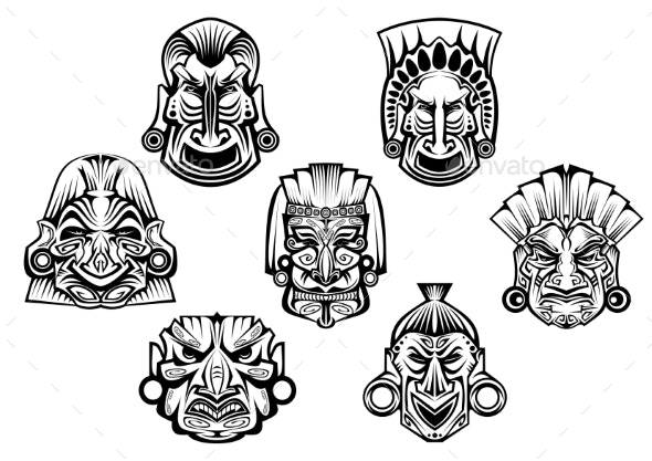 Ancient Tribal Religious Masks - Religion Conceptual