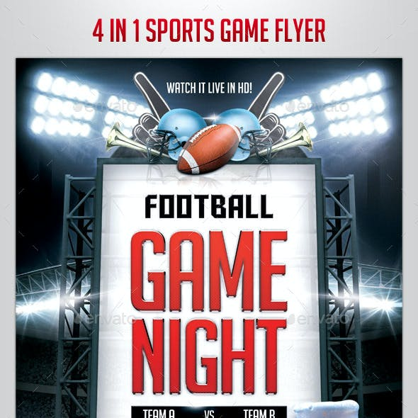 4 in 1 Sports Game Flyer