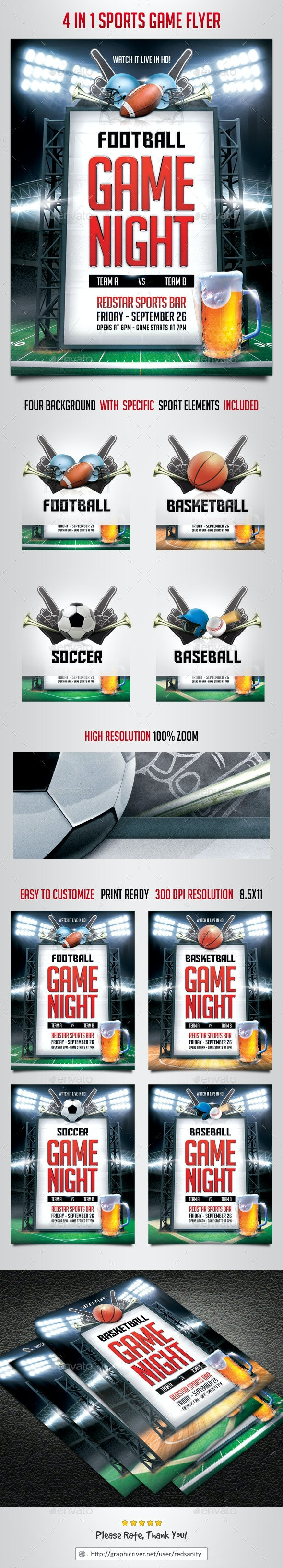 4 in 1 Sports Game Flyer - Sports Events