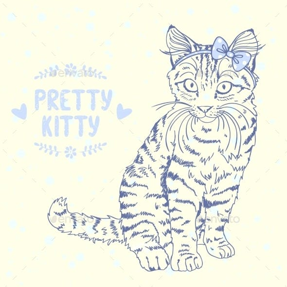 Kitten Sketch with a Bow