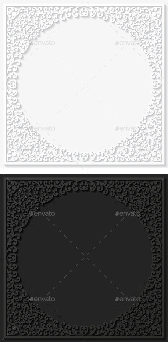 Set of Paper Floral Frames - Borders Decorative