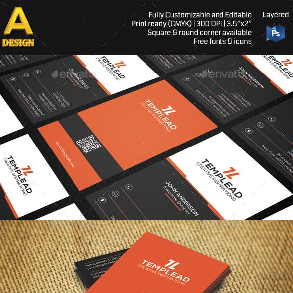 Red Modern Corporate Business Card AN0483