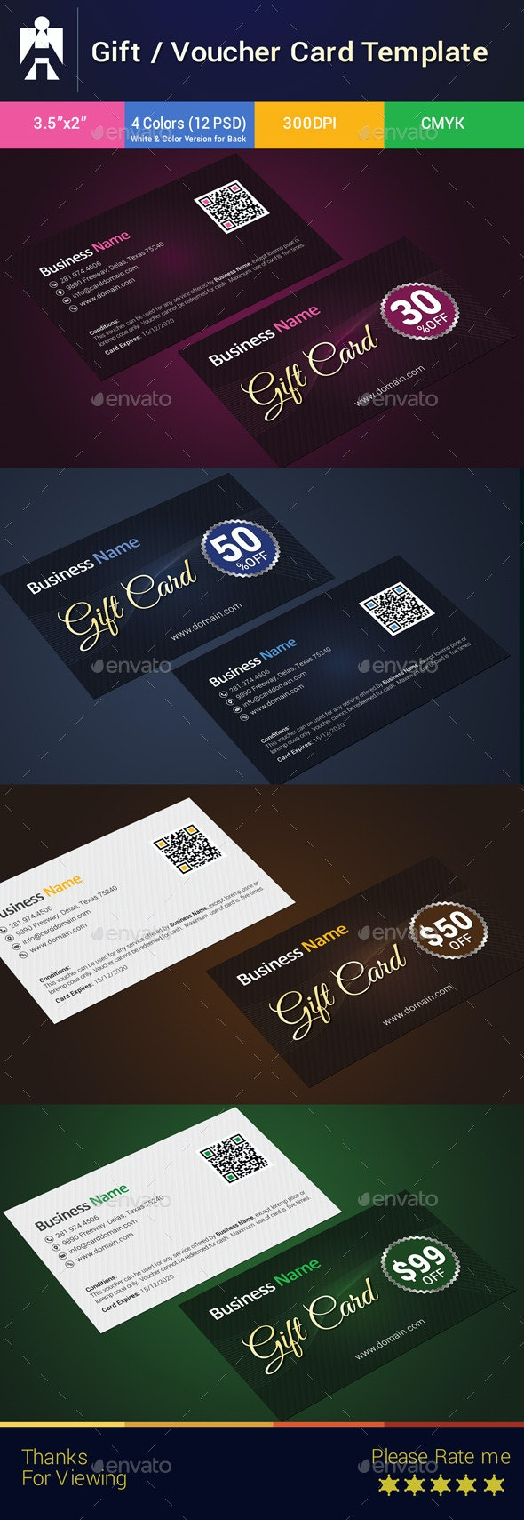 Premium Gift Card / Gift Voucher  Template - Cards & Invites Print Templates
