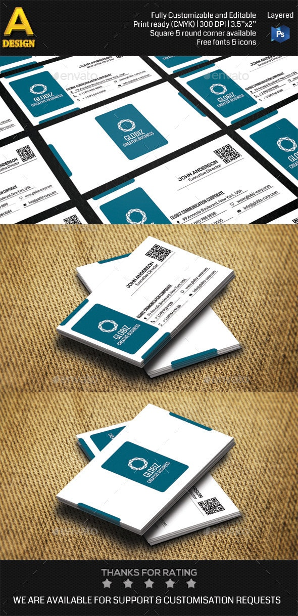 Modern Corporate Business Card AN0486 - Corporate Business Cards