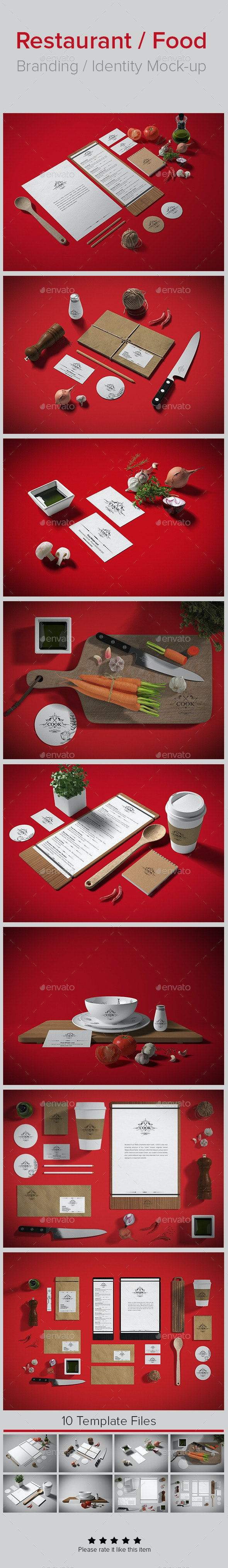 Restaurant / Food Branding Identity Mock-up - Stationery Print