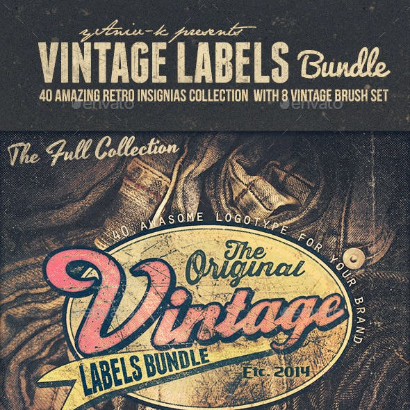 40 Vintage Labels Insignias Logos Bundle