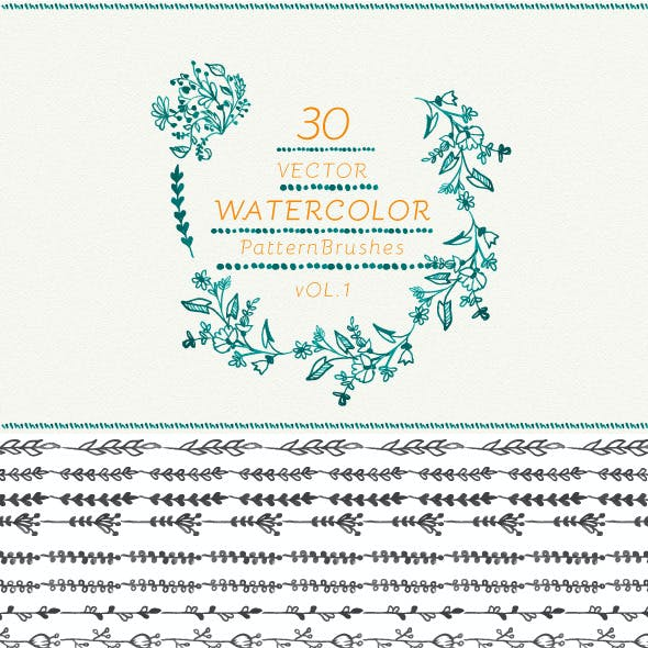 Watercolor vector pattern brushes