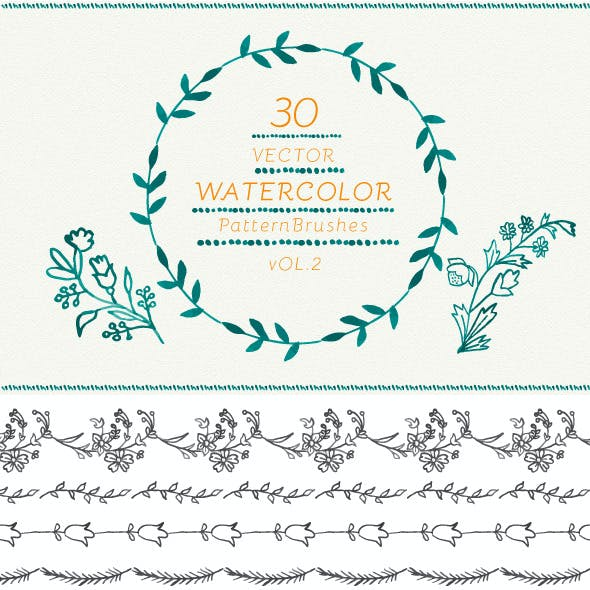 Watercolor Vector Pattern Brushes Vol.2