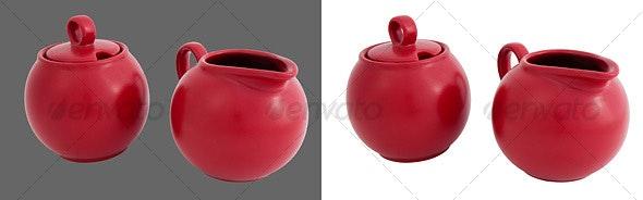 Ceramic Sugar Jar & Cream Jug - Home & Office Isolated Objects