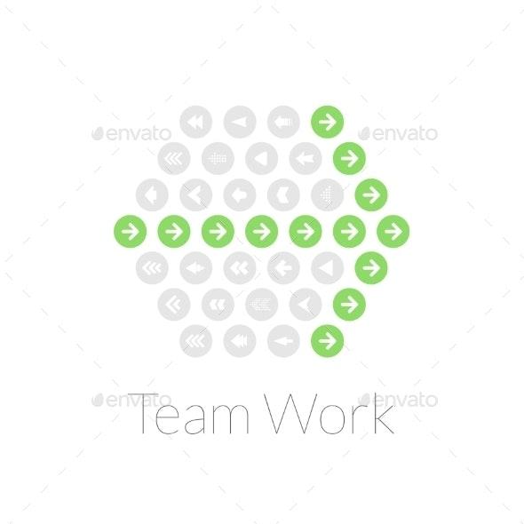 Team Work Flat Design Vector Illustration Concept - Web Technology