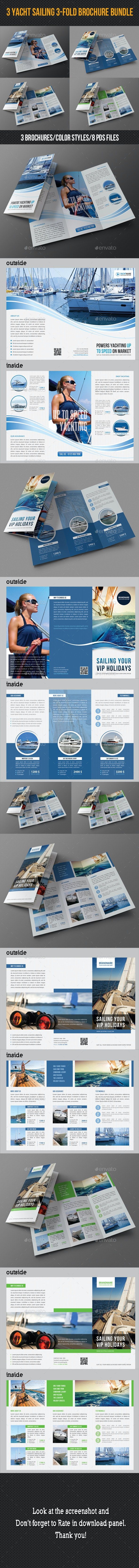 3 in 1 Sailing Travel Trifold Brochure Bundle - Corporate Brochures