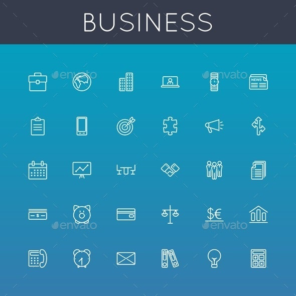 Vector Business Line Icons - Business Icons