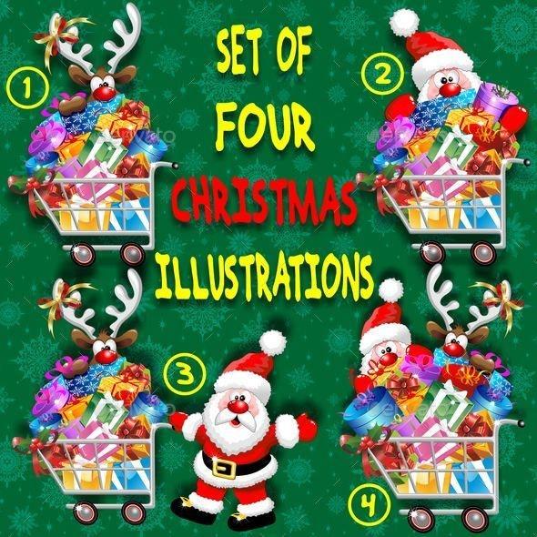 Santa and Reindeer Cartoon with Christmas Shopping - Christmas Seasons/Holidays