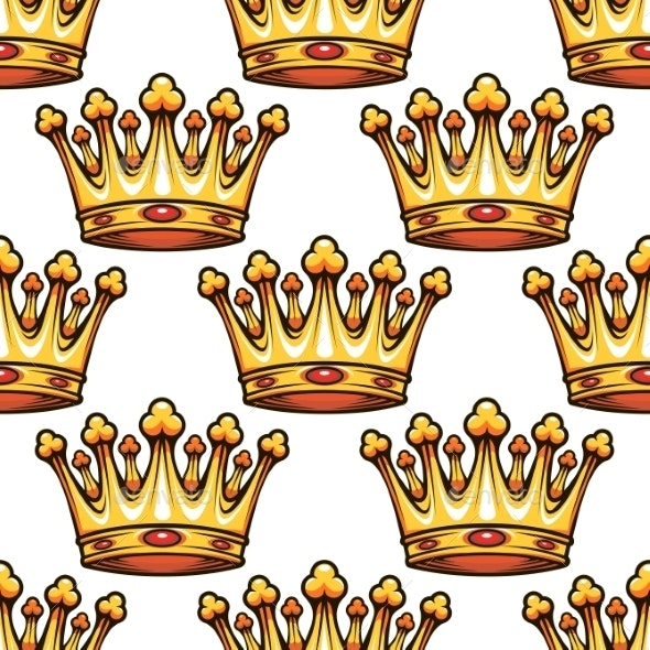 Seamless Pattern of Medieval Royal Crowns  - Patterns Decorative