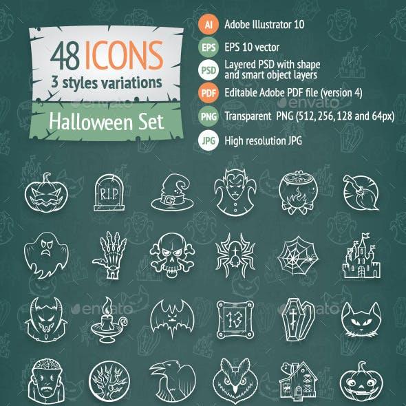 48 Halloween Icons Set