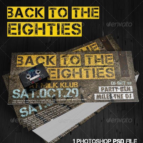 Back To The Eighties - 80's Dj Set Flyer