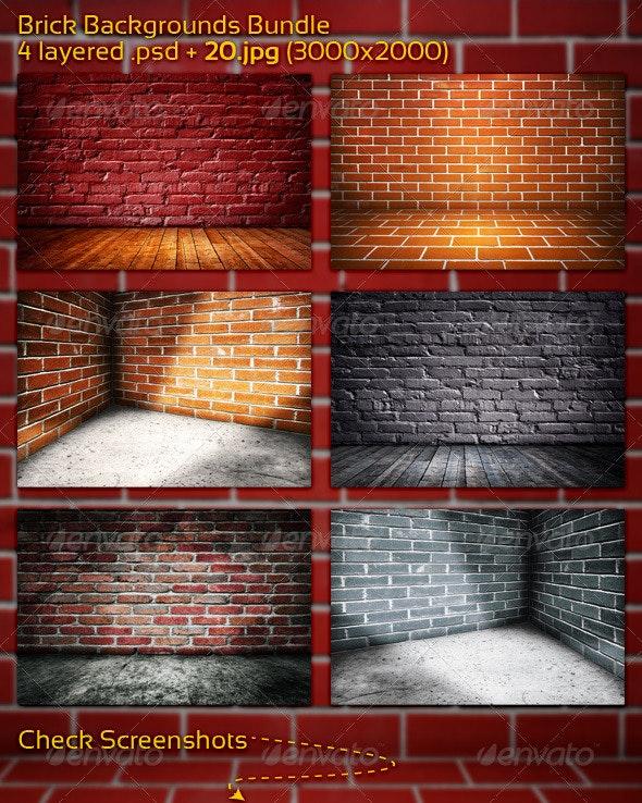 Brick Backgrounds Bundle - 3D Backgrounds