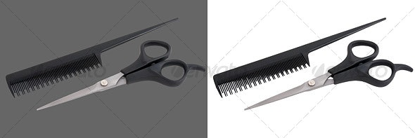 Scissors & Comb - Home & Office Isolated Objects