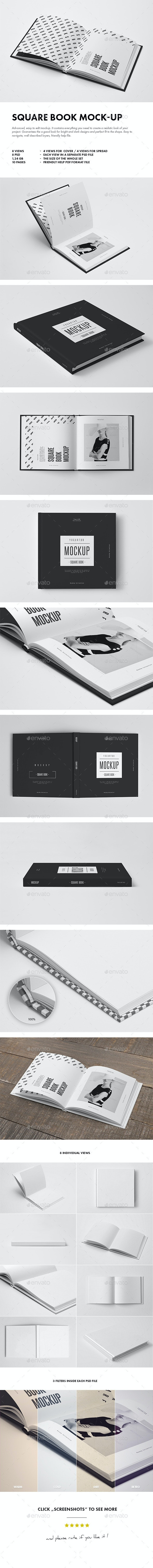 Square Book Mock-up - Books Print