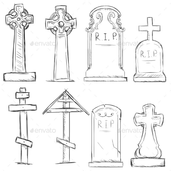 Vector Set of Sketch Cemetery Tombstones