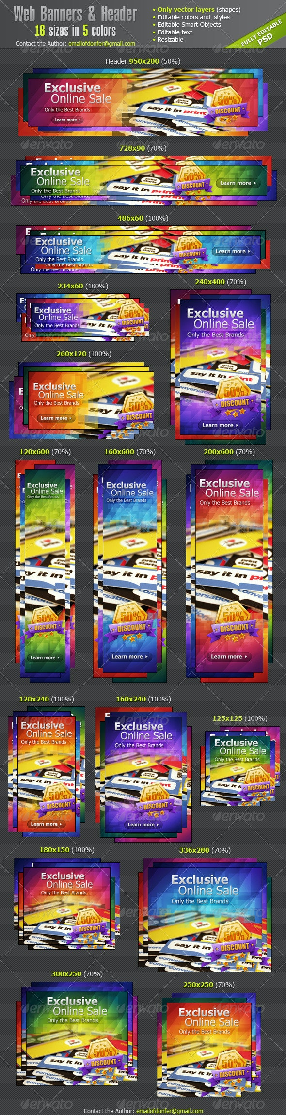 Web Banners Ads & Website Header - Banners & Ads Web Elements