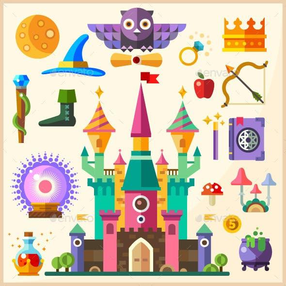 Magic and Fairy Tale. Vector Flat Magic Castle.