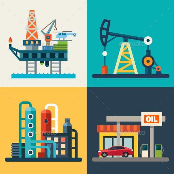 Vector Flat Oil Recovery, Oil Rig, a Gas Station.  - Industries Business