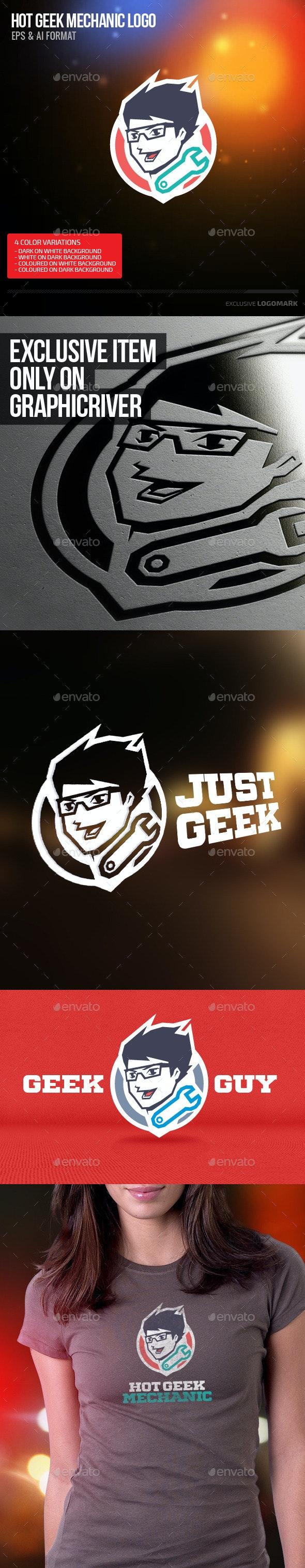 Hot Geek Mechanic - Humans Logo Templates