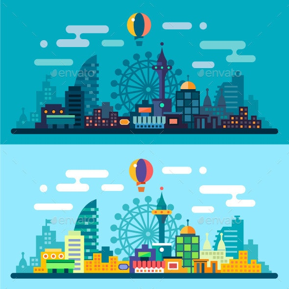 Vector Flat Night and Day City Landscape. - Landscapes Nature