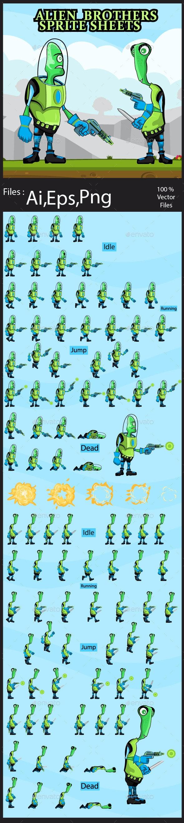 Alien Sprite Sheet - Sprites Game Assets