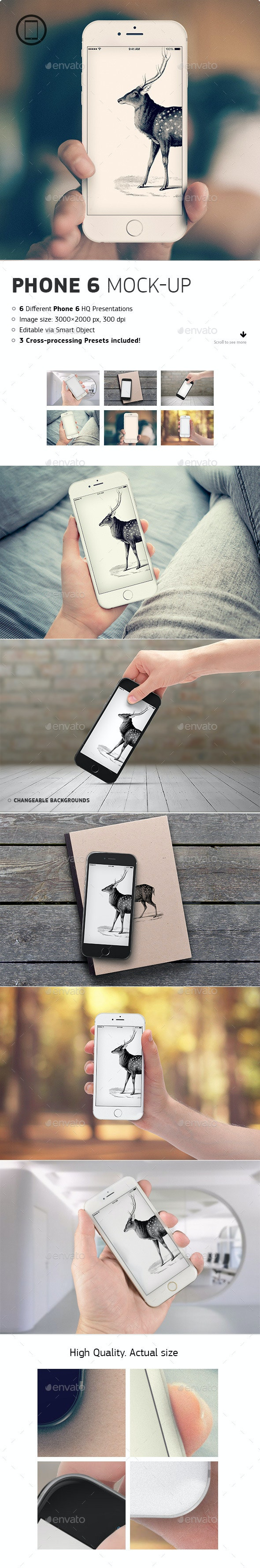 Realistic Phone 6 Mock-up - Mobile Displays