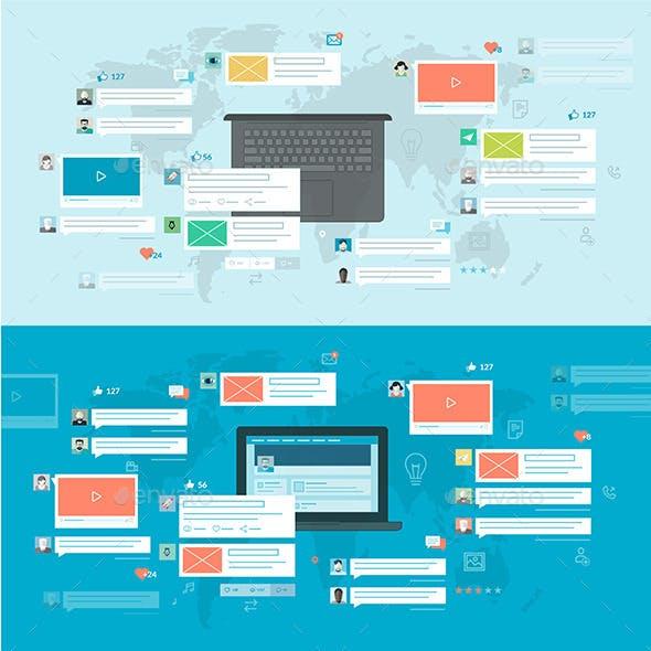 Set of Flat Design Concepts for Social Network