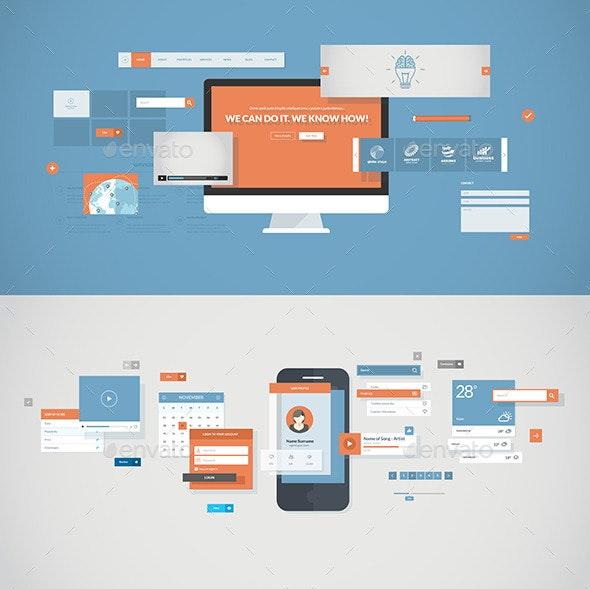 Flat Design Concepts for Mobile App and Website - Web Technology
