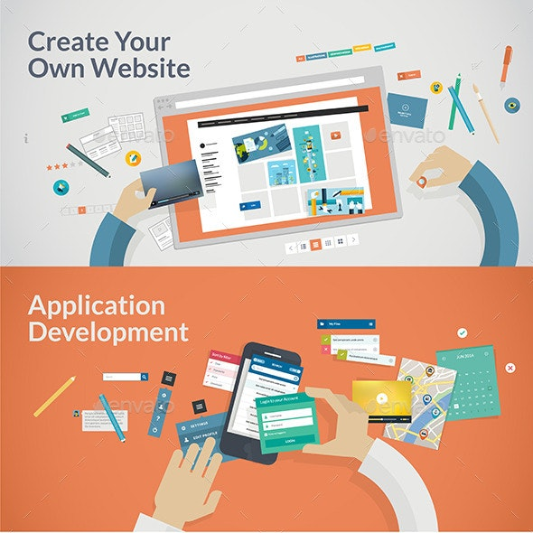 Flat Design Concepts for Websites and Apps Develop - Technology Conceptual