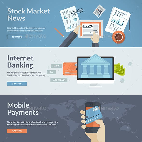 Flat Design Concepts for Internet Banking and News
