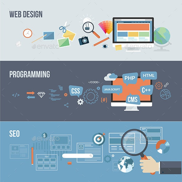 Set of Flat Design Concepts for Web Development.  - Web Technology
