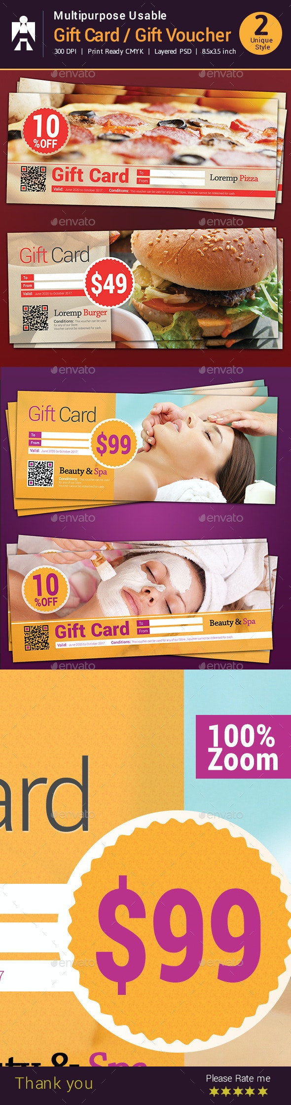 Multipurpose Usable Gift Card / Gift Voucher  - Cards & Invites Print Templates