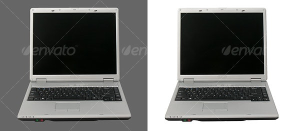 Front View of an Open Laptop Computer - Technology Isolated Objects