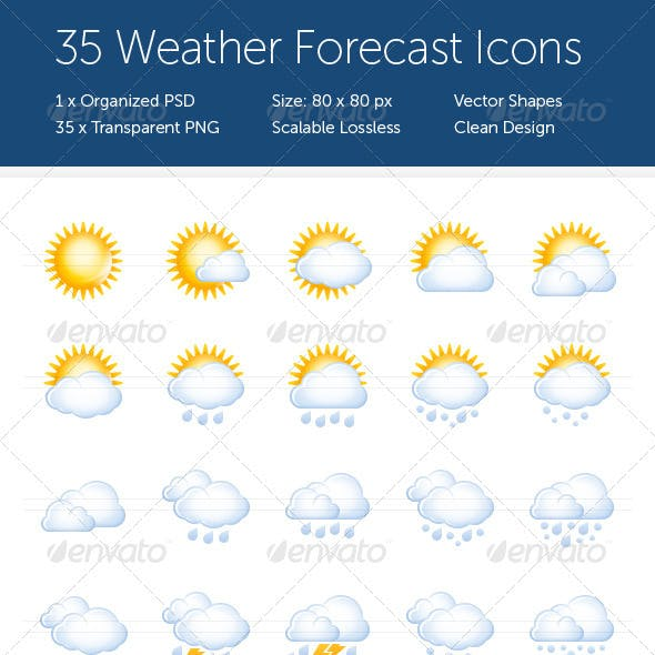 35 Weather Forecast Icons