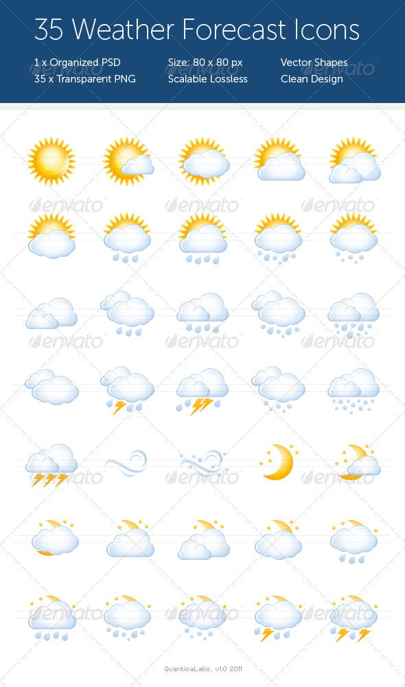 35 Weather Forecast Icons - Web Icons