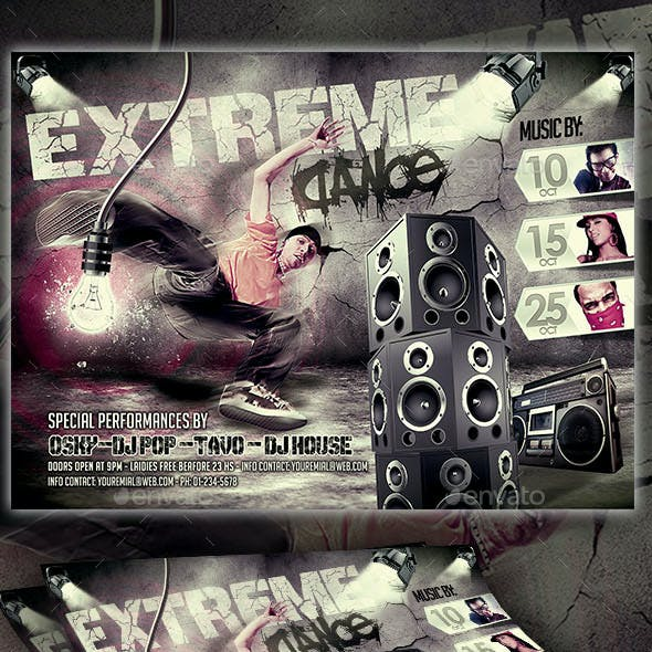 Extreme Dance Party Flyer