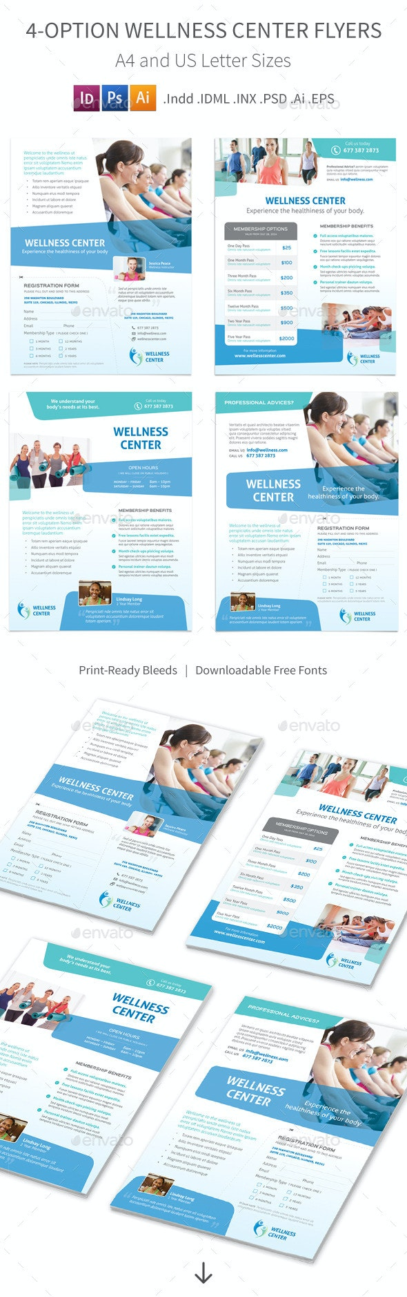 Wellness Center Flyers – 4 Options - Corporate Flyers