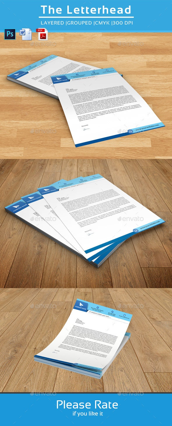 Clean Letterhead Template-V01 - Stationery Print Templates