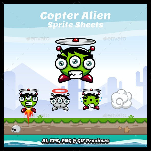 Copter Alien Game Character Sprite Sheets